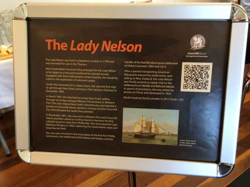 Model of the Lady Nelson (Photo by Tom O'Dea.)