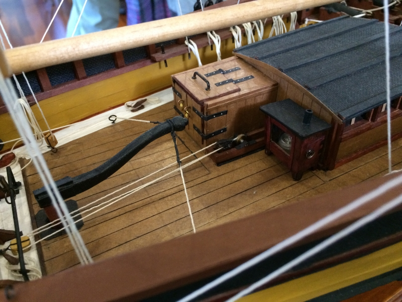 Detail of the Model of the Lady Nelson by David Lumsden. Scale is 1:24. (Photo by Tom O'Dea.)