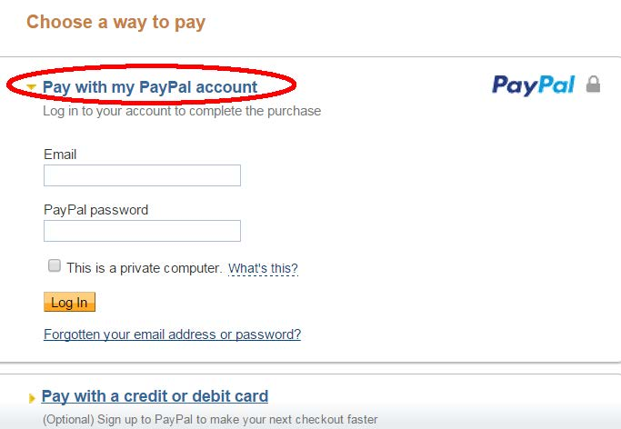 PayPal Payment - Pay with my PayPal account