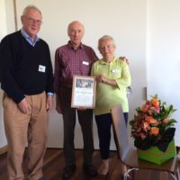 Presentation of Certificate of Life Membership to Ian and Jan Jonas - 12 Nov 2016