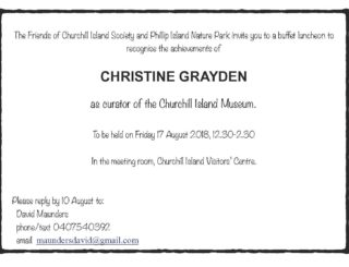 Recognition Event for Christine Grayden - Friday 17 Aug 2018