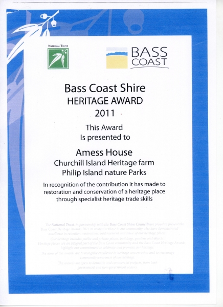 Bass Coast Shire and National Trust Heritage Award - 15 May 2011