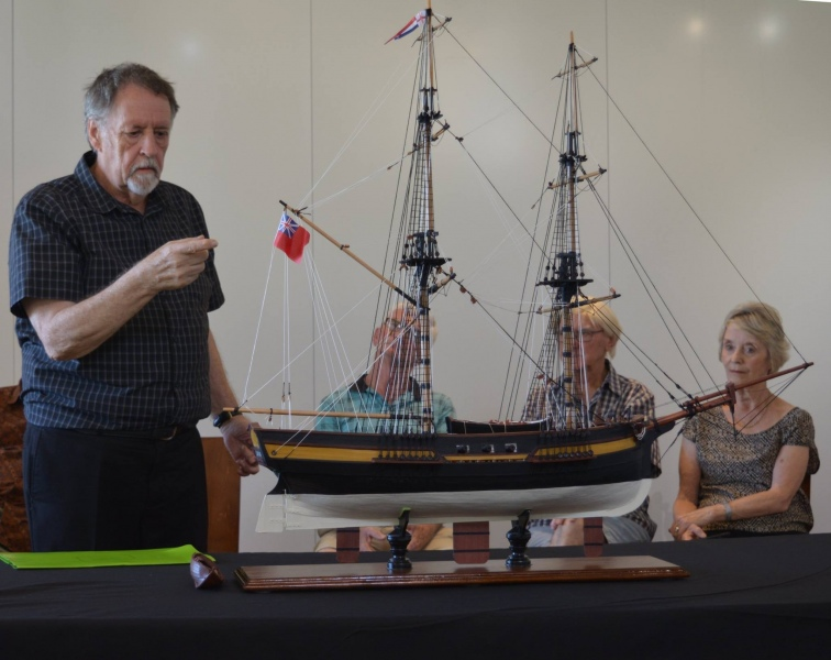 """The """"Launch"""" of the Model of the Lady Nelson (Photo by John Eddy)"""