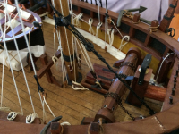 Detail of the Model of the Lady Nelson by David Lumsden. Scale is 1:24. (Photo by Tom O'Dea)